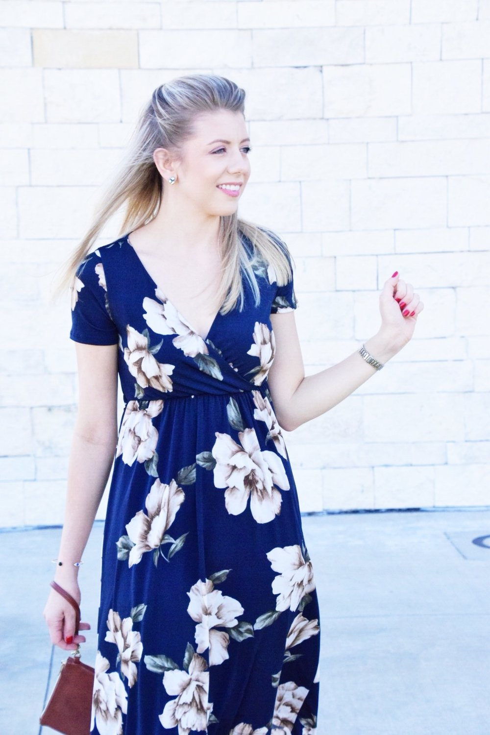 Shop PinkBlush Giveaway -Navy Floral Hi-Low Midi Wrap Dress - Houston Fashion Blogger (8).JPG