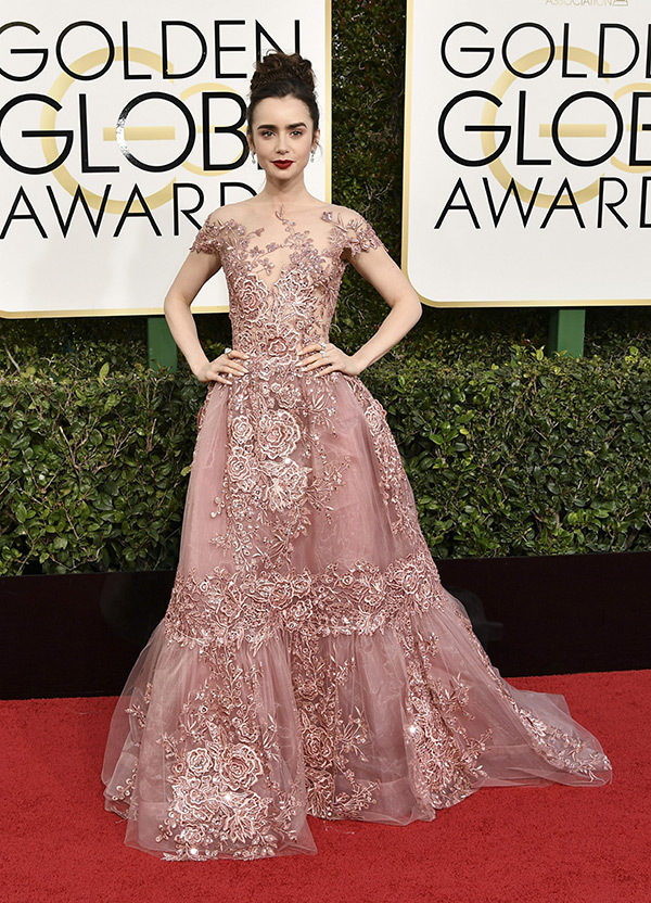 Lilly Collins in Zuhair Murad                                 Photo Credit:  Hollywood Life