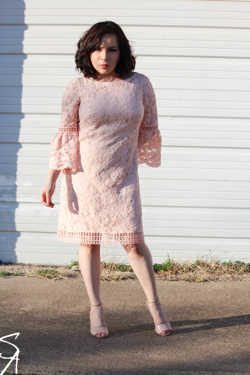 Eliza J Petite Bell Sleeved Lace Dress |  here