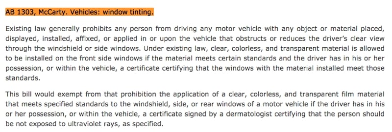 2018 California Window Tinting Laws | Ab-1303 Vehicles: Window Tinting