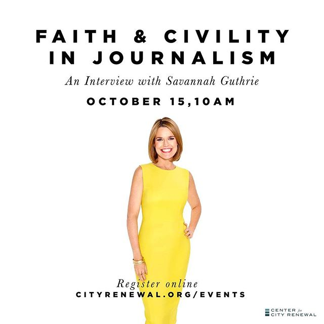 Our @cityrenewal ministry is bringing in @savannahguthrie for a candid interview about her experience in journalism. Get the details at cityrenewal.org/events. This one is going to fill up fast. #ccrvocation #ccrcivility