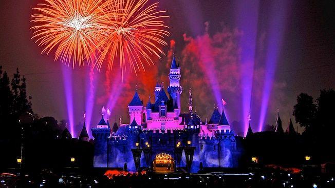 Photo of Disneyland fireworks over Cinderella's castle from  disneyland.disney.go.com