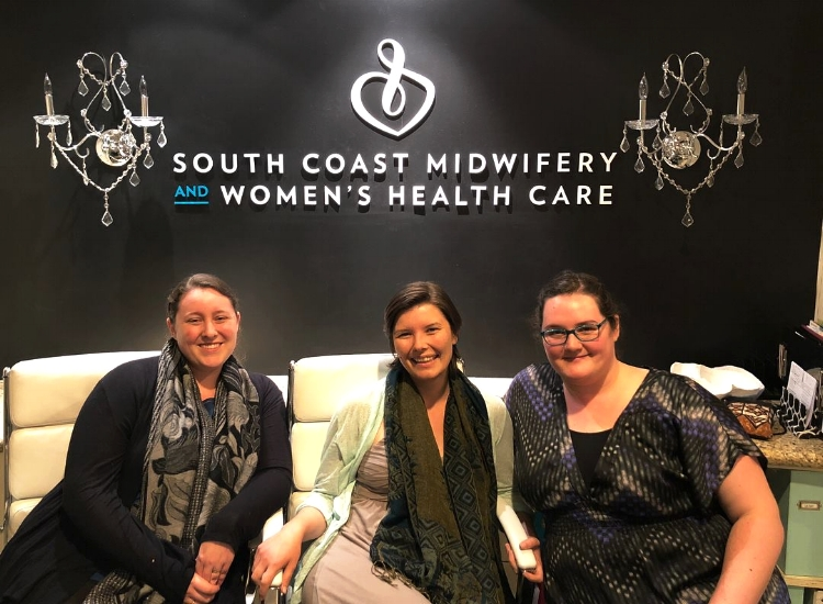 Megan, Marlee, and Amanda at South Coast Midwifery after Amanda's last class