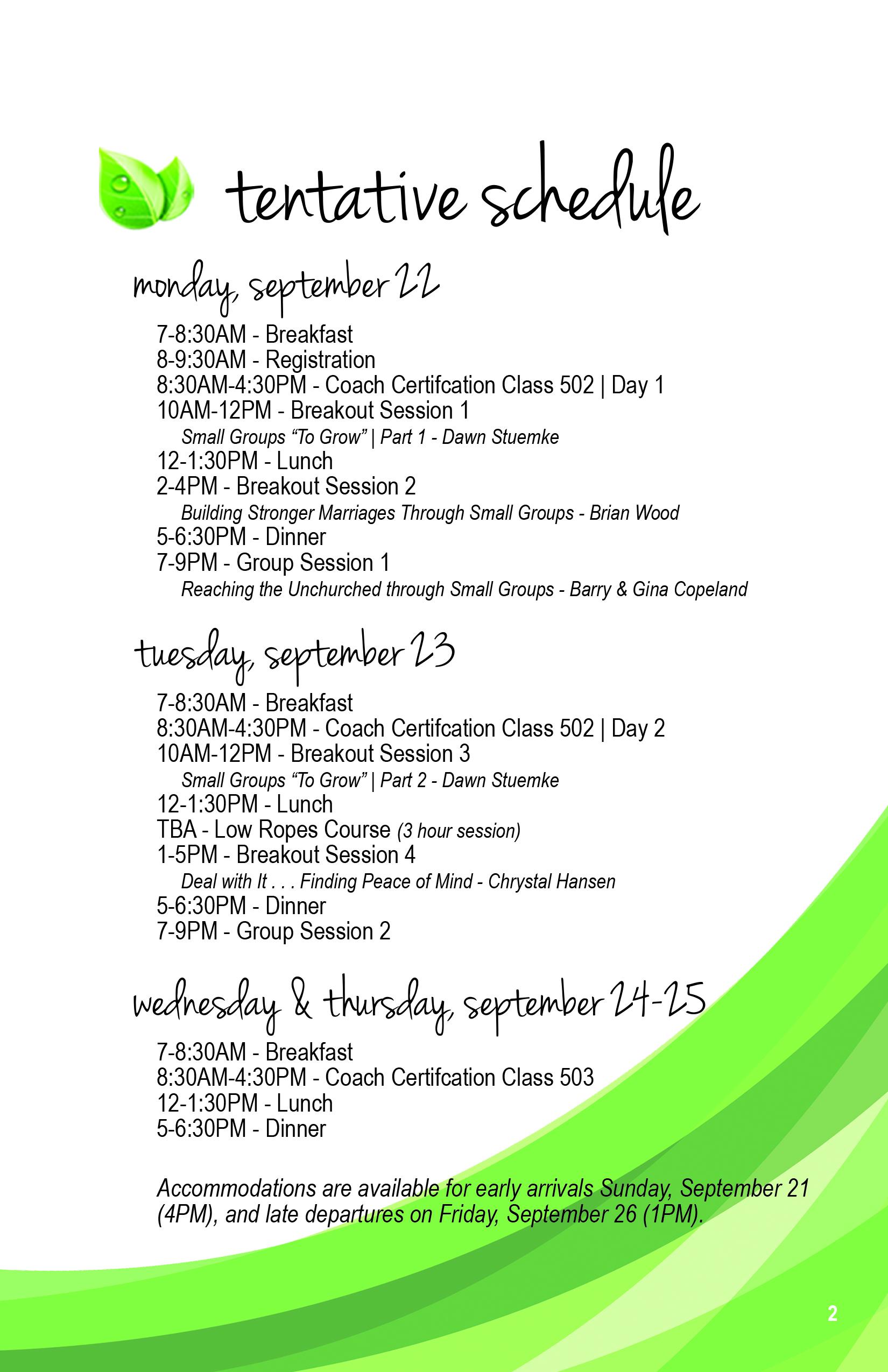 Tentative Conference Schedule