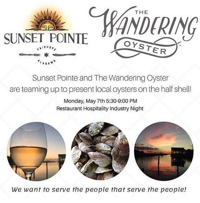 Hey #local #oyster fans! Y'all come out and join us next Monday evening at @sunset_pointe for a taste of some of our #sustainably grown #handcrafted #southern bivalves. 🎉😎🐚🥂. 📷: @sunset_pointe . #eatlocal #seafood #shellfish #sustainable #farming