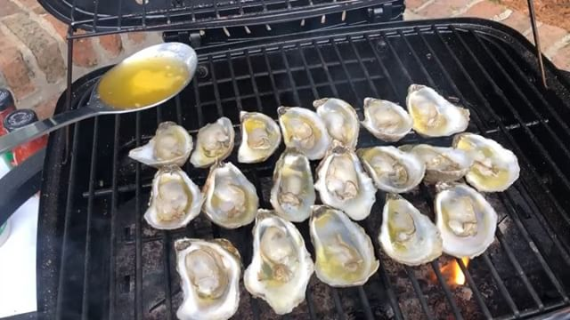 What an oysterific day this has been for us! We are having a great time #shucking and #grilling up some #local #Gulf #oysters for a private #kentuckyderbyparty. We love making our customers happy! 🐚🔪🔥🍴 . #supportlocal #eatlocal #sustainable #seafood #livefire #mobilebay #partyideas #oysterbar #rawbar #eeeeeats