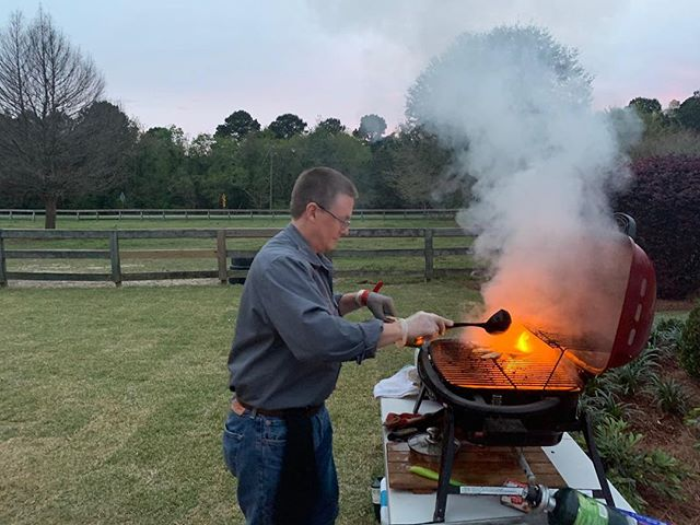 We had a great time grilling up some extra green #oysters for a St. Patrick's Day party!  Grillmaster Troy was busy serving our clients. ☘️🐚🔥 . We're still booking for spring weddings - so be sure to give us a call! . #eatlocal #oysters #seafood #fairhope #mobilebay #wedding #reception #party #partyideas