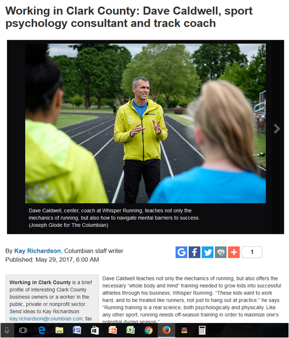 Click on the image above to read more of Kay Richardson's Working in Clark County write-up on Dave Caldwell, Head Coach at Whisper Running.