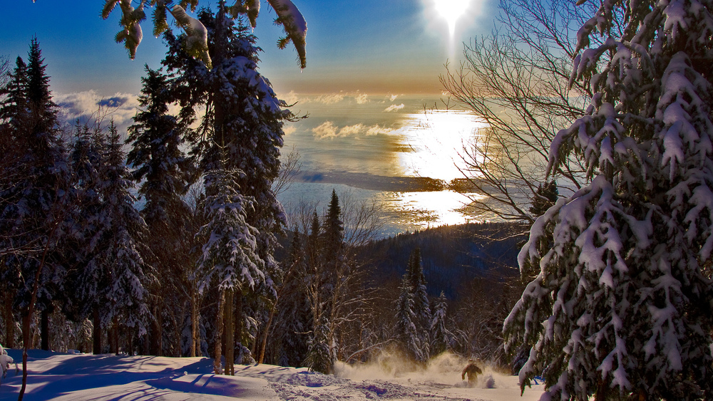 Looking out over the St. Lawrence River from Le Massif, QC