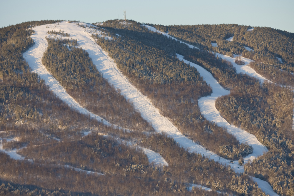 """White Heat (center) - Sunday River, ME. The trail is marketed as the """"steepest, longest, widest"""" trail on the East Coast."""