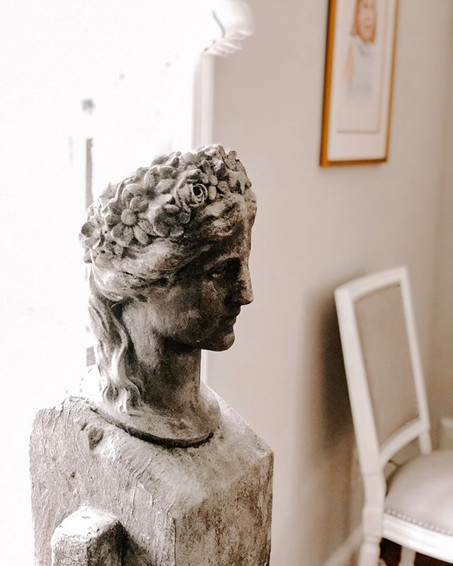 """This """"Goddess of Spring"""" bust is one of my favorite finds... the day I saw her I knew she had to be mine. She is patiently waiting for these snowy forecasts to turn to cherry blossom days... I'm trying to follow her lead."""