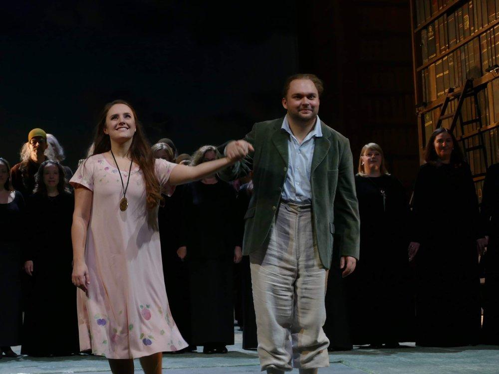 With Louise Alder as Pamina and Tamino (Die Zauberflöte / Opernhaus Frankfurt)