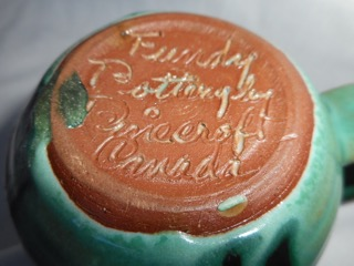 Fundy Pottery indicates a souvenir piece made for sale by the Clennells for Fundy Bay Park in the Maritimes.