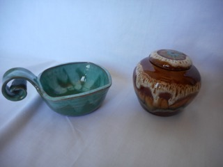 On left – A serving dish possibly for nuts  On Right – Sugar bowl