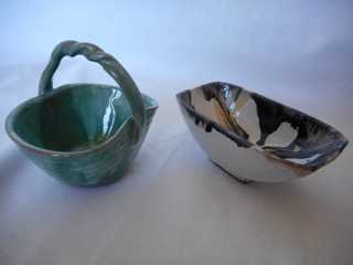 On Left: A Small trinket basket On Right: An unique cream, black, golden colour glaze covered sugar bowl which isn't often found.