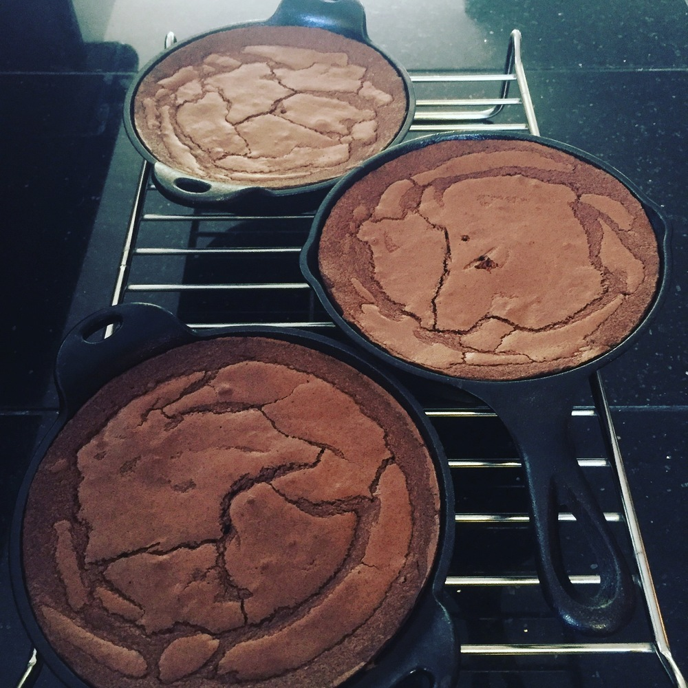 Skillet Brownies hot from the oven.