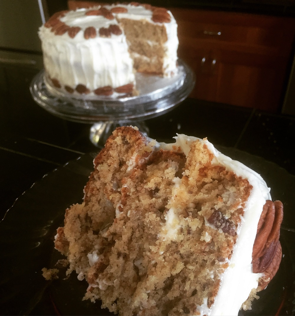 Hummingbird Cake with three layers and cream cheese frosting.