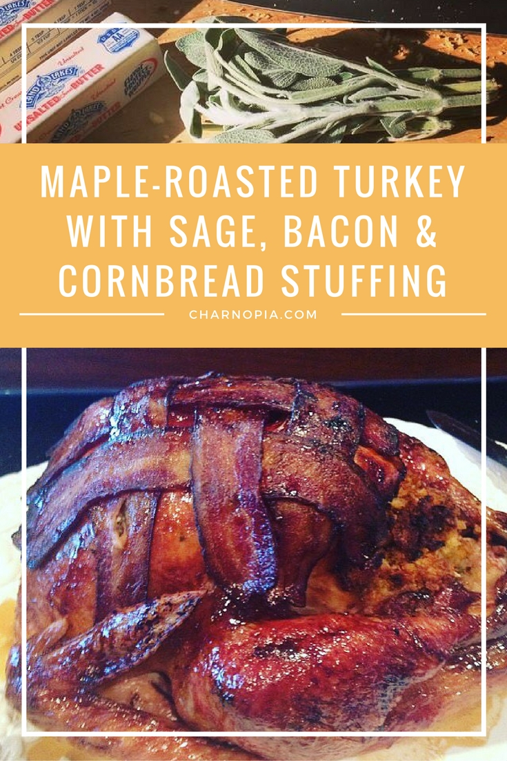 This Maple-Roasted Turkey with Sage, Bacon and Cornbread Stuffing is the perfect turkey recipe for Thanksgiving. It's my favorite!