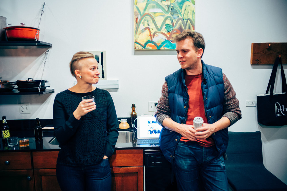 Elizabeth with Rob, owner/founder of Dearborn Denim