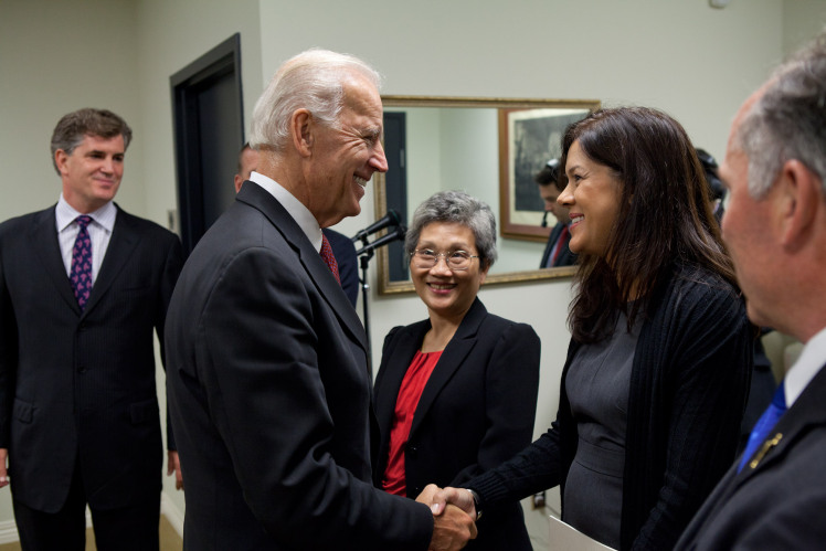 Vice President Joe Biden talks with the subjects of a documentary called Rebirth, before a screening in the South Court Auditorium at the White House, September 7, 2011.