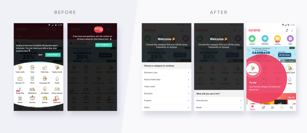 Old & New Onboarding: Asking the user what category they will primarily use on Ayopop
