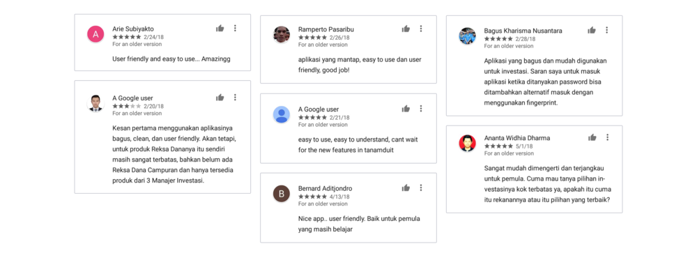 Reviews of tanamduit users in Google Play Store