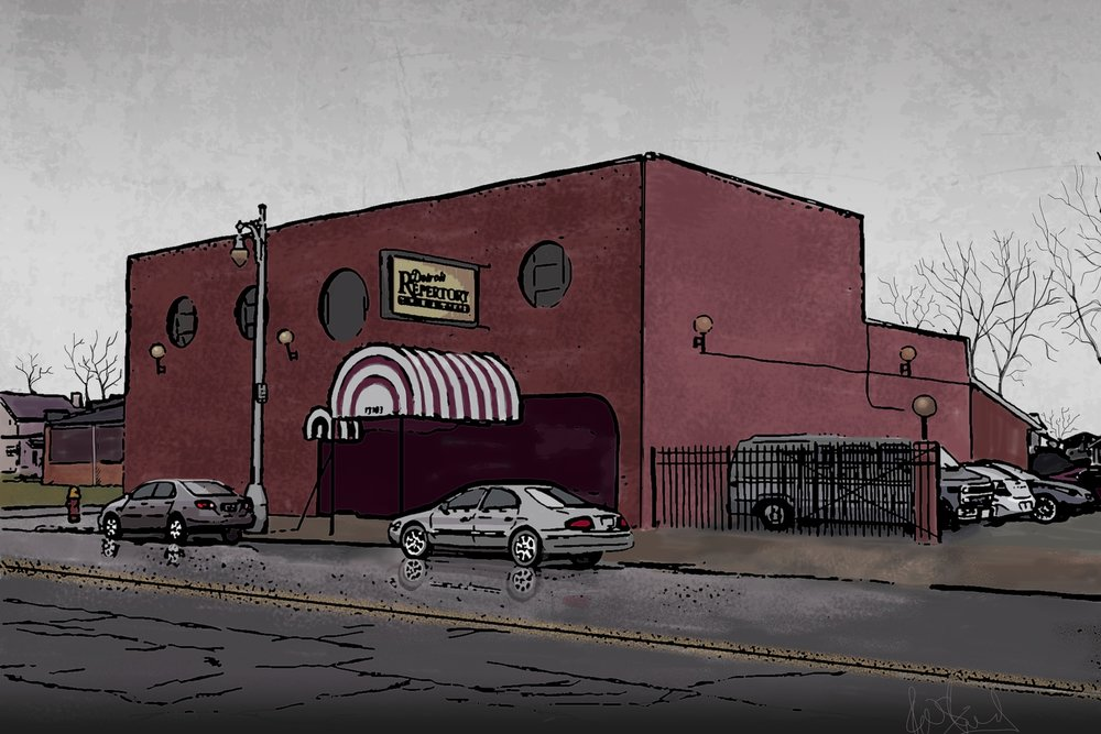 Digital drawing of the Detroit Repertory theatre by richard strand.