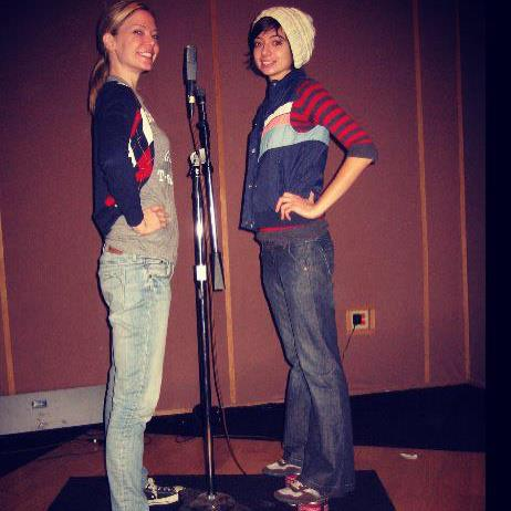 Here we are way back in 2009. We were recording Present Face and I had to stand on paint cans to match Riki's height. -Kate