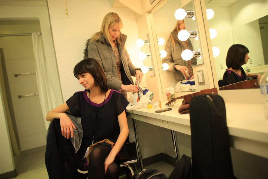 Micucci and Lindhome enjoy some downtime backstage at the Centre  - photo by Simon Hayler