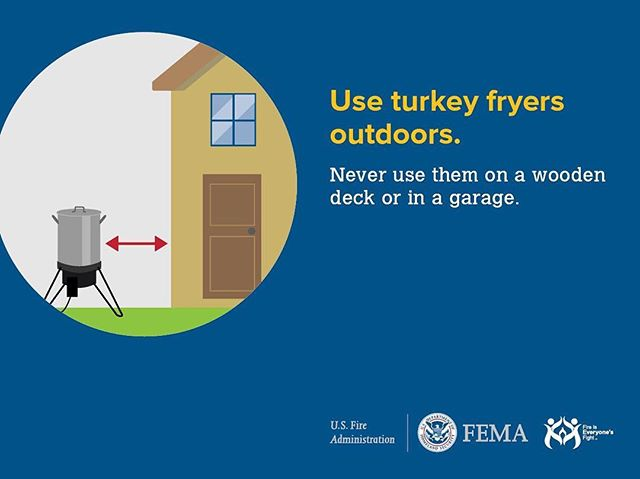 Fried turkey is delicious...and dangerous! If you plan on frying a turkey, please do it safely.  #iaff  #firesafety  #friedturkey  #thanksgiving  #dontburnthehousedown #fema