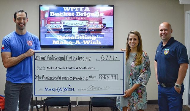 WPFFA was proud to present Make-A-Wish of Central and South Texas with a check for $8,826.89! We were able to make this donation thanks to the generosity of the people of West Lake Hills, Rollingwood, and those just passing through. Our Bucket Brigade will be back in the fall, so keep an eye out for us! (L to R: WPFFA Secretary Ben Williams, Courtney Gremillion with Make-A-Wish, WPFFA President Chris Gill) #wpffa #makeawish