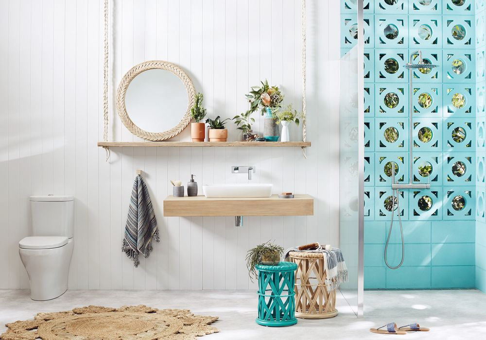 boho bathroom. Stay grounded Mix pops of colour with natural timber tones for the perfect  balance The boho Bathroom Happiness Campaign 2016