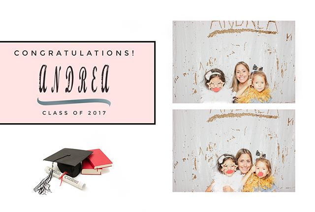 Graduation party for Andrea this past Saturday with our photo booth with our new Carat premium backdrop. Congratulations Andrea! Next stop Rutgers University. #classof2017 #photobooth #photoboothparty #graduationparty