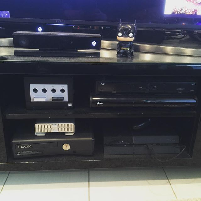 The #gamecube #ps4 #gdrive #xbox360 #xboxone #kinect and, of course, two cable boxes because, you know, overkill /// #gaming #videogames #xbox #nintendo #microsoft #sony #playstation #gamer #gamers #pop #funko #batman #computergaming #pcgaming #tv #office