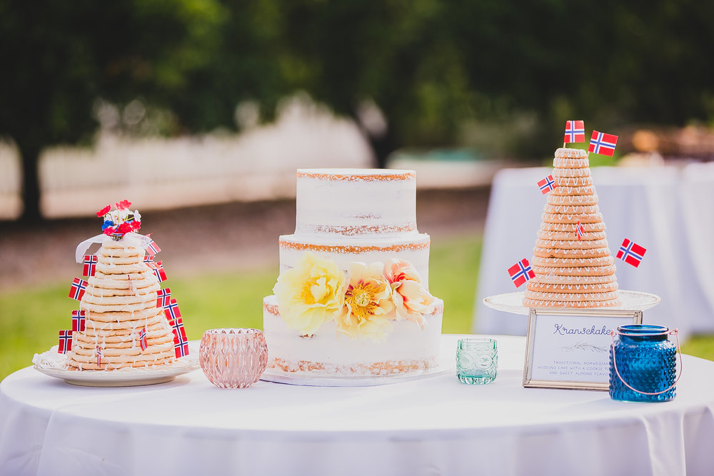 Cakes at our May 14, 2016 summer wedding. Photo by Kimberly Daniels Photography.