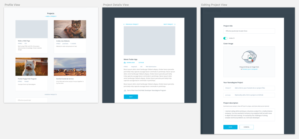 Three views for projects: the gallery in the main profile, the project details card, and the project edit mode.