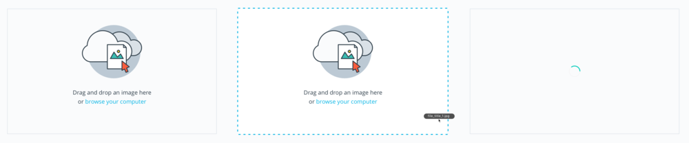 Upload images with drag & drop or browse.