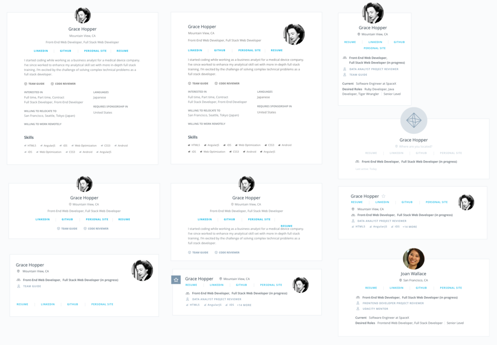 Every section went through several explorations and revisions. These iterations above were just for the top card to optimize a student's most relevant information to recruiters.