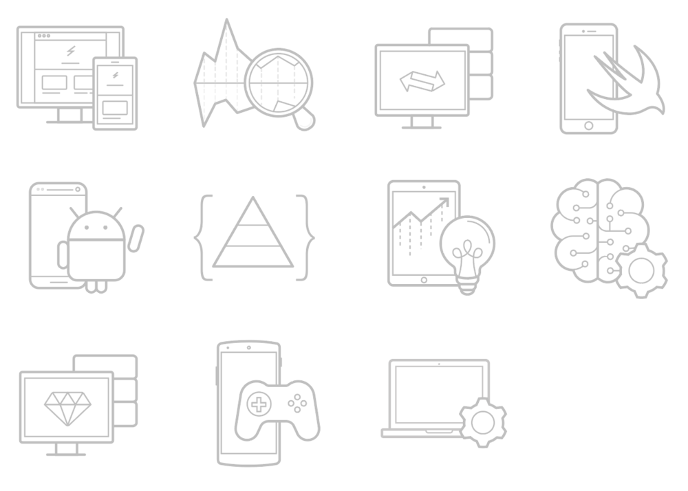 Icons to represent each Udacity Nanodegree. Some of these icons were a collaboration with my teammate Clifton Lin.