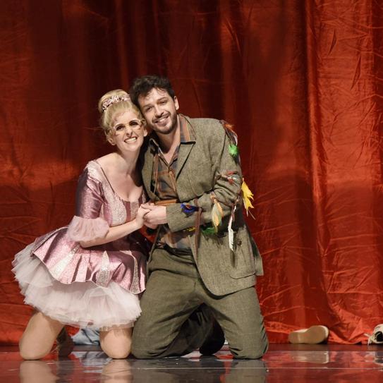 Papagena + Papageno (Salomon Zulic del Canto) am Saarländischen Staatstheater