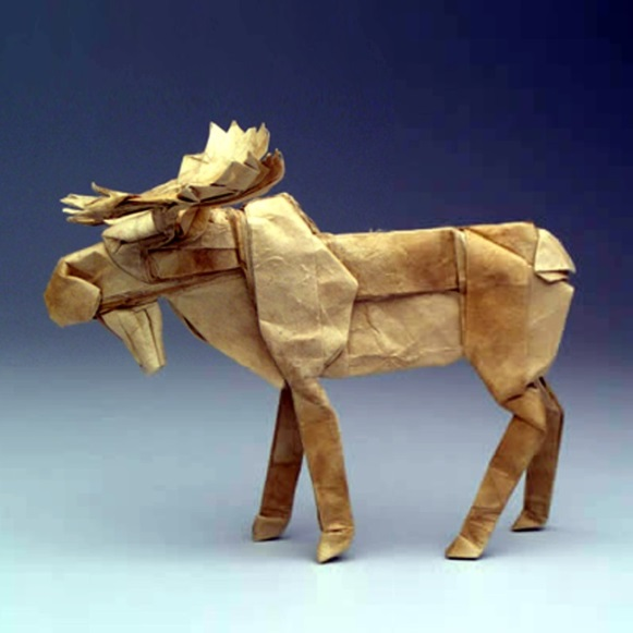 Moose folded from an uncut square by Dr Robert Lang, former scientist at NASA