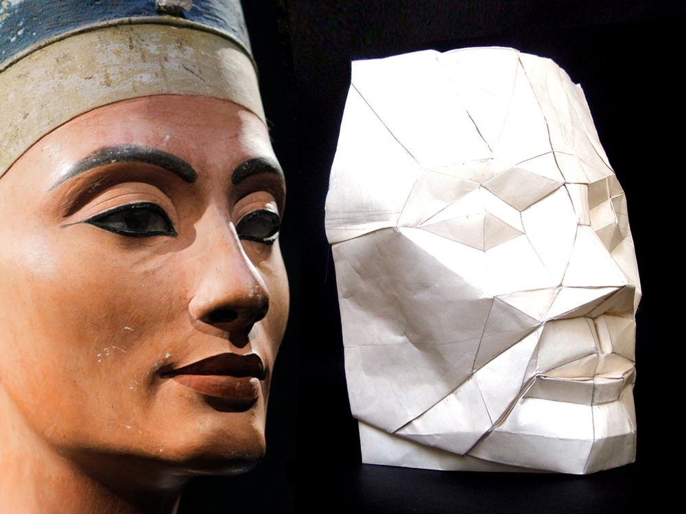 Representation by one sheet of uncut paper of face of Nefertiti by straight-crease couplets