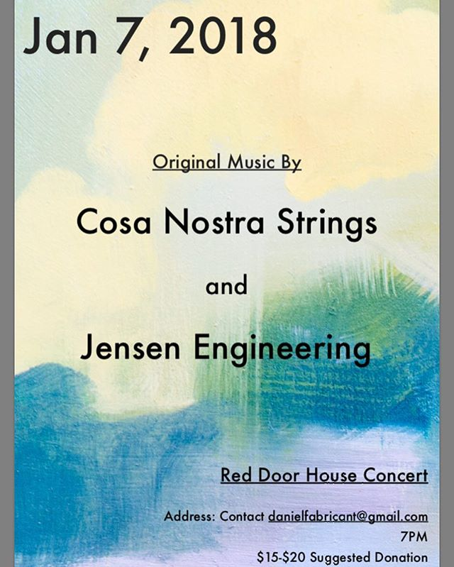 Sunday we play the Red Door series with the amaaaazing Jensen Engineering! #cosanostra #livemusic #stringmusic #jazzmafia