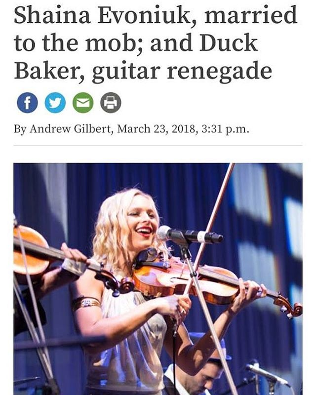 "Put down your avocado toast for a minute and check out this scintillating profile done on @shainaviolinista by Andrew Gilbert of Berkeleyside for her upcoming EP release of ""Hitwoman Honey,""THIS Wednesday 3/28 at the California jazz conservatory in Berkeley!! (http://www.berkeleyside.com/2018/03/23/shaina-evoniuk-married-mob-duck-baker-guitar-renegade)  Also, a heads up Shaina will be on KPFA radio 94.1fm  tonight at 9.30pm, on Greg Bridges' show ""Transitions On Traditions,"" and they're GIVING AWAY ANOTHER PAIR, so tune in :)"