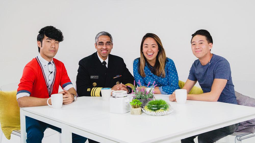 (From left to right) Eugene Lee Yang, Dr. Vivek Murthy, Ashly Perez and Dan Matthews.