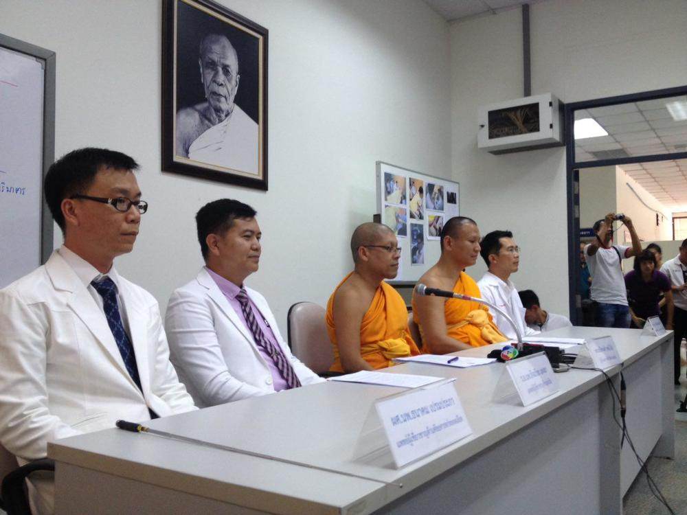 Press conference at Wat Phra Dhammakaya on May 14th, 2016 led by the temple's press team and MV Dhammajayo's physicians.