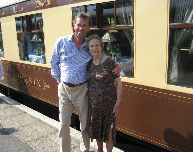 Alan and his mother in front of the Phoenix carriage
