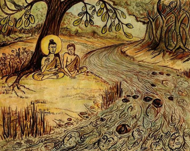 Siddhartha sitting by the river with Vasu Deva, the ferryman