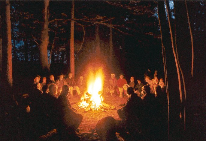 The campfire was a focus for our shared journey.