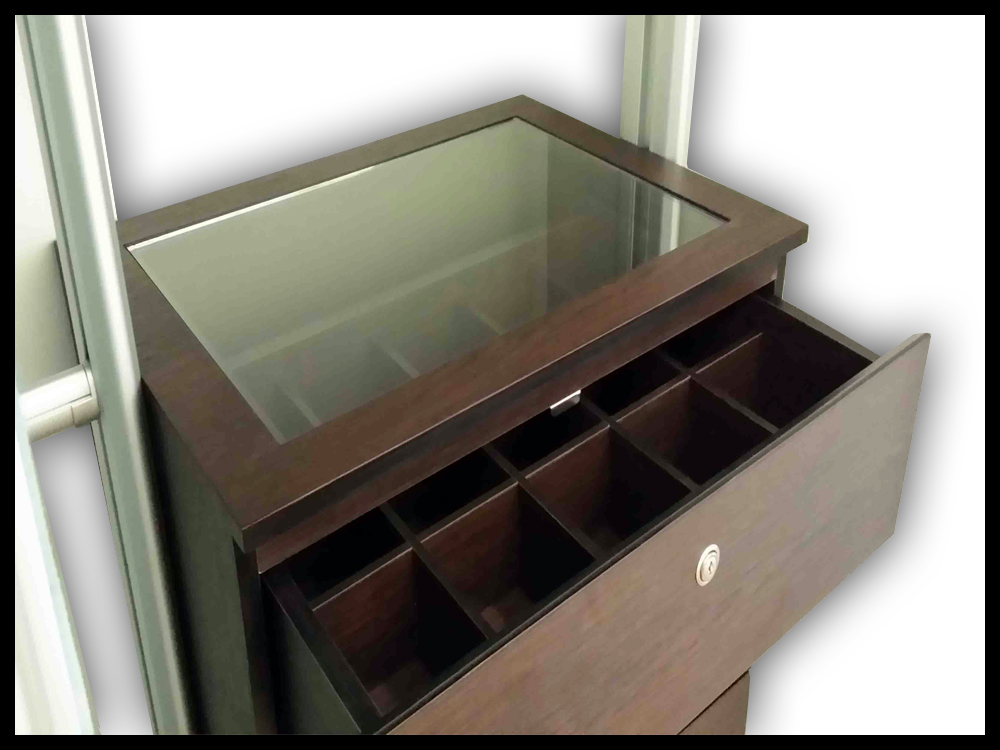 Drawer + Clear Glass Top + Organizer - A